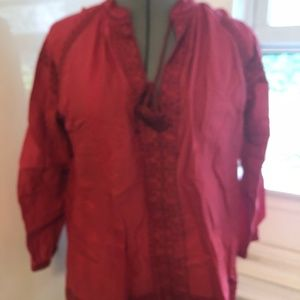 Madewell Red Peasant Blouse
